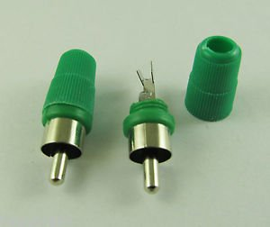 10pcs Green Solder Type RCA Phono Male Plug Audio Video Cable Adapter Connector