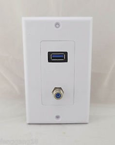 USB 3.0 Component 1 Port Television Satellite Receptacle Outlet Wall Face Plate