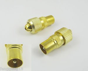 RF Antenna CATV TV FM Coax Cable PAL TV Male Plug Connector Adapter Gold Plated