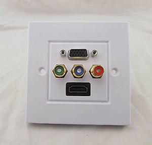 HDMI VGA 3RCA Wall Plate Panel AV Composite Audio Video Outlet Socket HDTV 1080p