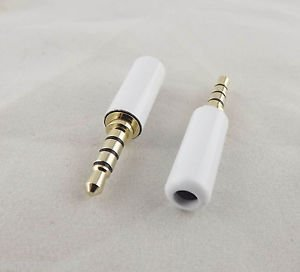 "10pcs White 3.5mm 1/8"" 4 Pole Male TRRS Repair Headphone Metal Audio Soldering"