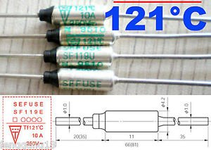 5Pcs Microtemp Thermal Fuse 121°C 121 Degree TF Cutoff SF119E 10A AC 250V New