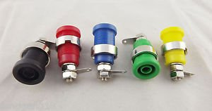 5pcs Binding Post Banana Jack 4mm Safety Protection Plug 5 Colors with Screw