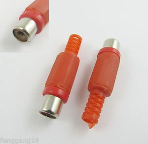 50pcs RCA Phono Female Jack Plug Solder Type Audio Video Cable Connector Red DIY