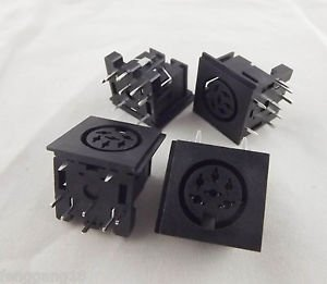 5pcs DIN 6 Pin Circular Jack Female Panel Mount PCB Mount Connector Adapter