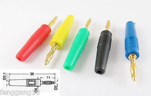 20x Gold 2mm Banana Male Plug Audio Adapters for Instrument Test Probes 5 Colors