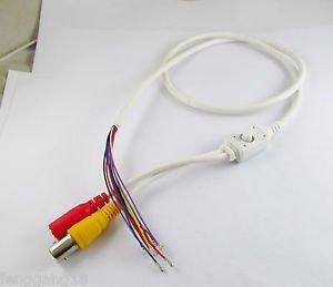 CCTV Camera 5.5x2.1mm DC Jack BNC Video Power OSD Menu Cable White 86cm/2.8ft