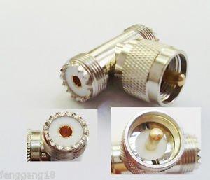 UHF PL259 Male Plug to Dual 2 UHF SO239 Female Jack Triple RF Connector Adapter