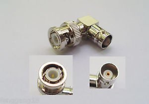 BNC Male Plug to BNC Female Jack Right Angle 90 Degree RF Adapter Connector New