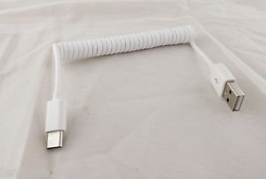 White 1M USB 3.1 C Type Male To 2.0 A Male Spiral Coiled Data Sync Adapter Cable