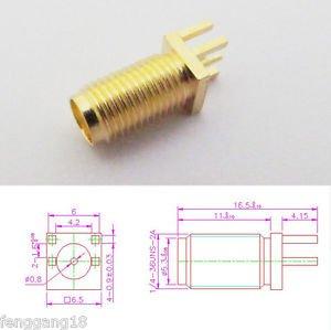 10 Pcs SMA RF Female Jack Board Mount Coaxial Connector Un-Symmetrical Pin New