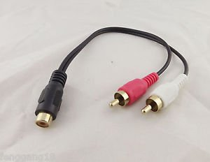 RCA Phono Female To 2 RCA Male Gold Plated Video Audio Adapter Y Splitter Cable