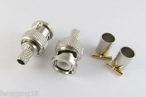 50 Sets 3 Piece BNC Male Crimp For RG59 RG-59 Coaxial Cable Connector Plugs