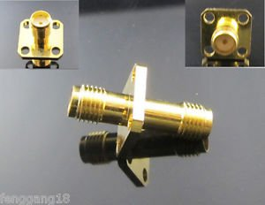 10x SMA Female Jack 4 Holes Flange to SMA Female Straight RF Adapter Connectors