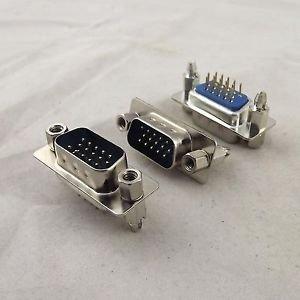 10x D-SUB DB15 DP15 15Pin Male DIP PCB Solder Connector Adapter 3 Row Lock Screw