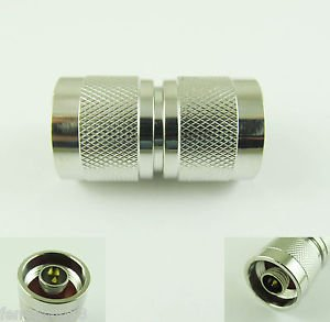 N Male Plug to N Male Double Male Pin Straight RF Adapter Connectors Nickel