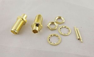 "10x RP-SMA Female Nut Bulkhead Solder RF Connector Semi-rigid RG402 0.141"" Cable"