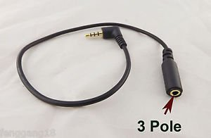 3.5mm Stereo Audio 4 Pole 90°Angled Male To 3 Pole Female Extension AUX DC Cable