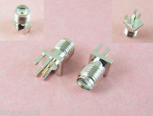 "10pcs Nickel SMA Female Solder 0.062"" PCB P.C Board Clip Edge Mount RF Connector"