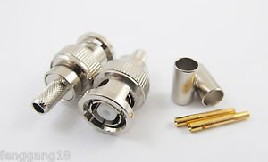 10 RP-BNC Male Jack Center Crimp RG58 RG142 LMR195 RG400 Cable RF Coax Connector