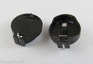 2x Portable CR2025 CR2032 Battery Clip Button Coin Cell Holder Box Case Black