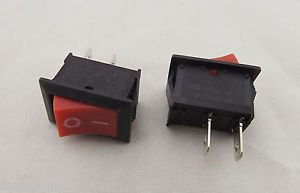 10pcs Rocker Switch ON/OFF Red Cap 2 Pins Single Way 6A 10A 21x15mm KCD-101 New