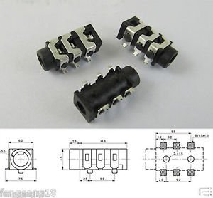 50x 3.5mm Female Audio Jack Connector SMT 6 Pin Stereo Headphone Phone PJ-313D