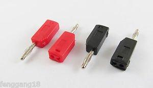 2x Nickel Copper Radioshack Stackable 2mm Mini Banana Plug Connector Red Black