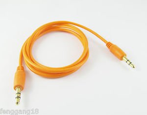"""10x Orange 3.5mm 1/8"""" Male to Male Stereo Audio Aux Cord Extension Cable 1m Gold"""