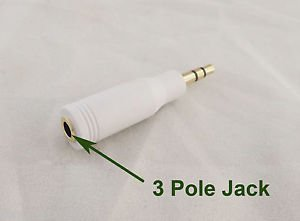 """3.5mm 1/8"""" Male Stereo 3 Pole To 3.5mm Female Audio Adapter Converter Gold White"""