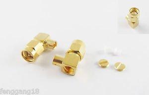 "2pcs SMA Male Plug Right Angle Solder Semi-Rigid RG402 0.141"" Cable RF Connector"