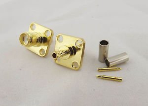 RP-SMA Female 4 Hole Panel Flange Crimp RG316 RG174 LMR100 Cable RF Connector