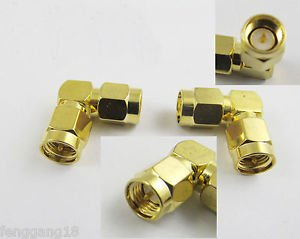 SMA Male Plug to SMA Male Plug Right Angle Coaxial Gold RF Connector Adapter New