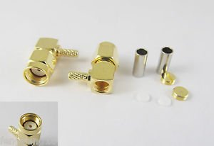 10x RP-SMA Male Jack Center Right Angle Crimp RG174 RG316 LMR100 RF Connector