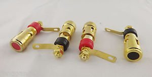 5 Pair Gold Speaker AMP Terminal Binding Post Spring Loaded Press Type Red Black