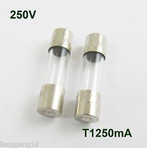 100 Pcs Glass Tube Fuse 5 x 20mm T1250mA 1250mA 1.25Amps T1.25A 250V Slow Blow