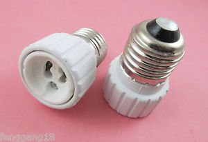 2X E27 to GU10 Socket LED Halogen CFL Light Bulb Lamp Adapter Converter Holder