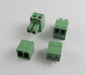 100x 2 Pin/Way Pitch 3.81mm Screw Terminal Block Connector Green Pluggable Type