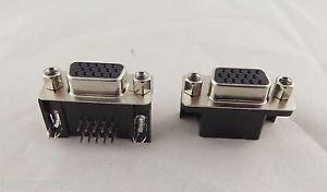 10x VGA DB15 15 Pin D-SUB 3 Rows Female Right Angle PCB Solder Connector Adapter