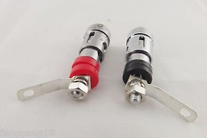 1 Pair Nickel Speaker AMP Terminal Binding Post Spring Loaded Type Red & Black