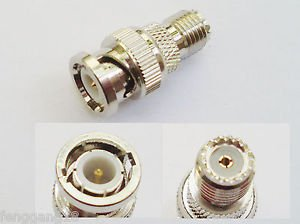 BNC Male Plug to Mini UHF Female Jack Straight RF Adapter Connector