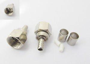 F Male Plug Straight Crimp For RG58 RG142 RG400 LMR195 RG223 Cable RF Connector