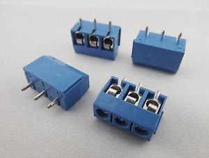 100x 3way 5mm 3 Pin Plug in Terminal Block Screw Connector Pitch Panel PCB Mount