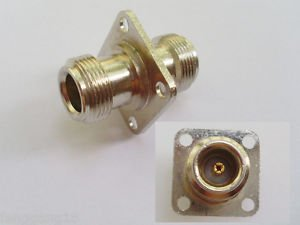 N Female Jack with 4 Holes Flange to N Female Jack Straight RF Adapter Connector