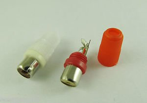 2pcs Red White Solder Type RCA Phono Female Audio Video Cable Adapter Connector