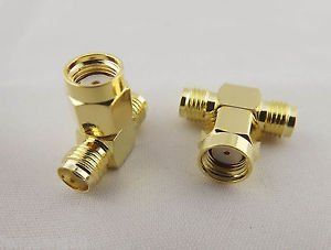 1pcs RP-SMA Male To Dual Double  2 SMA Female Jack RF Triple T Adapter Connector