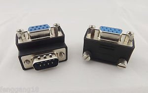 10 Right Angle 90 Degree DB9pin DB9 RS232 Male To Female Extension Cable Adapter