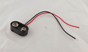 1x 9 Volt Battery Clip Connector 9V Snap on T Type w/ Lead Cable Wire Black BS1