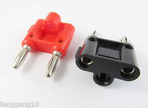 2x Dual Double Nickel 4mm Banana Plug Speaker Audio Connector Screw Red Black