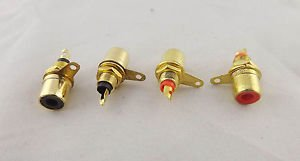 50pcs Gold RCA Phono Female Chassis Panel Mount Socket Metal Connector Black Red
